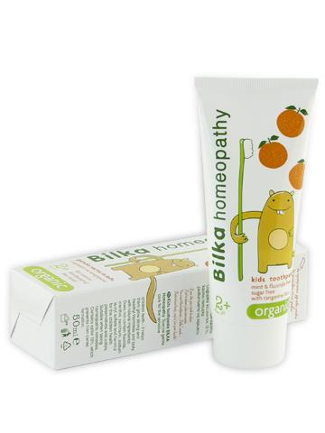 Детска паста за зъби Bilkahomeopaty с аромат на мандарина 2+