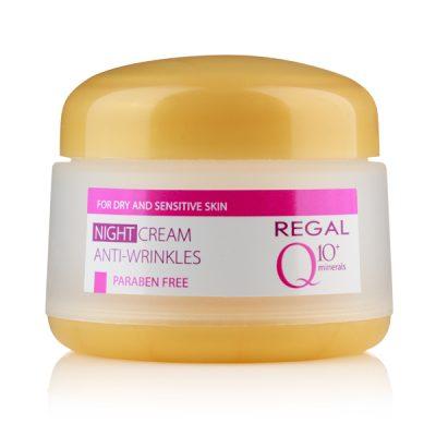 Нощен крем против бръчки Regal Q10+ с минерали за суха и чувствителн кожа